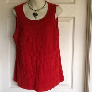 CHICO'S red ruffle front top